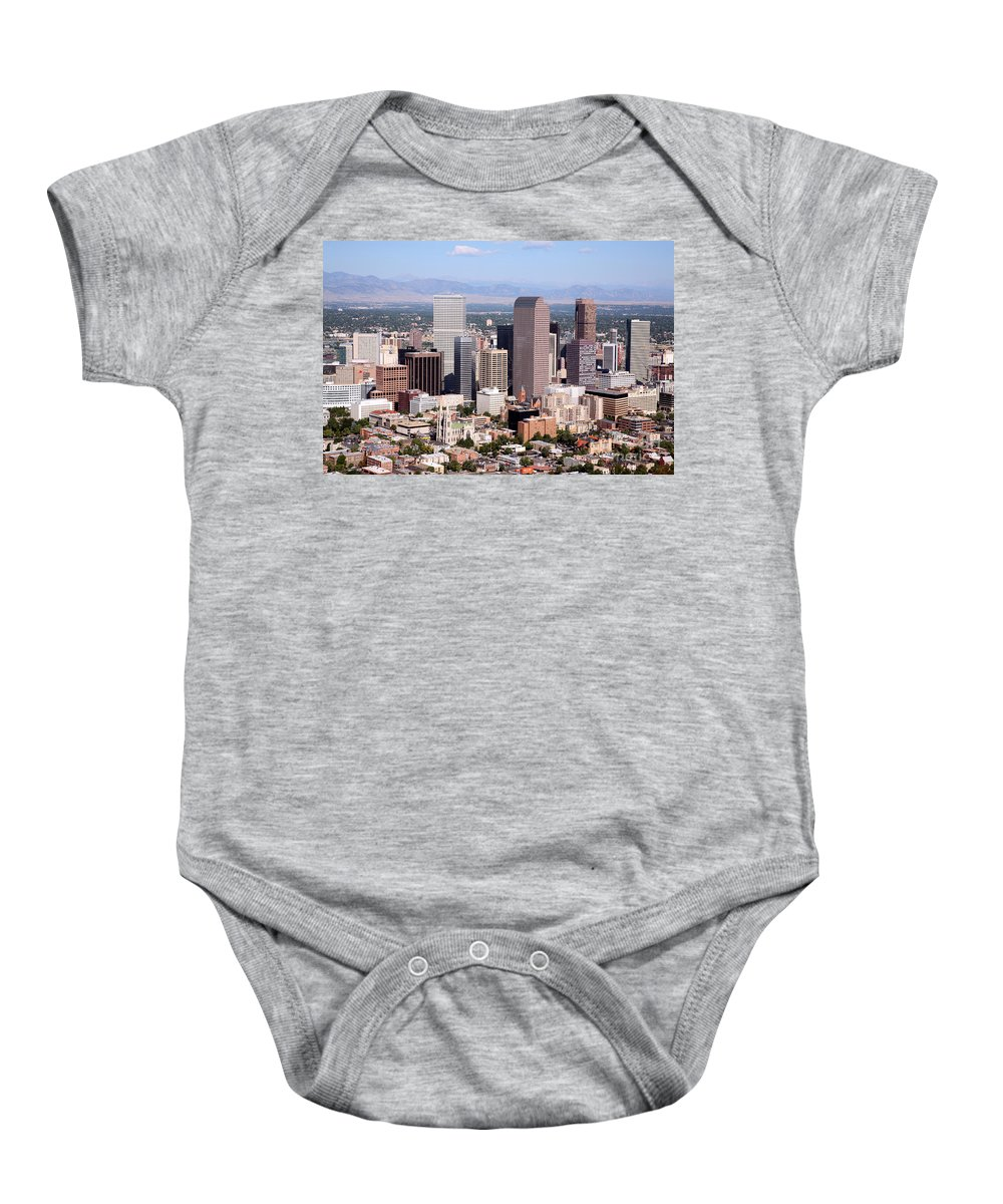 Cathedral Basilica Of The Immaculate Conception Baby Onesie featuring the photograph Denver Colorado Skyline by Bill Cobb