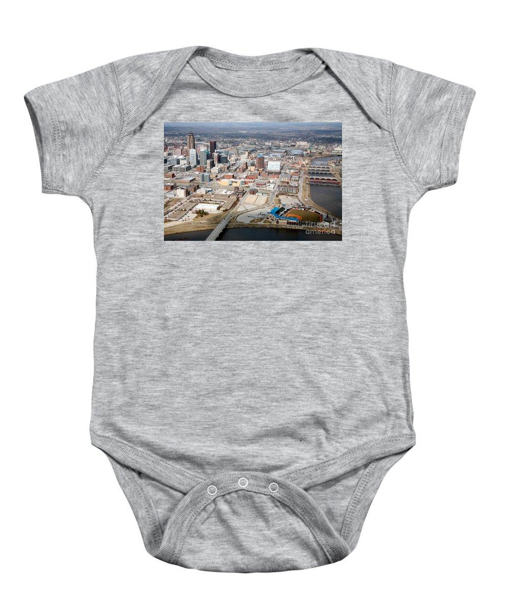 801 Grand Baby Onesie featuring the photograph Des Moines Iowa Skyline by Bill Cobb