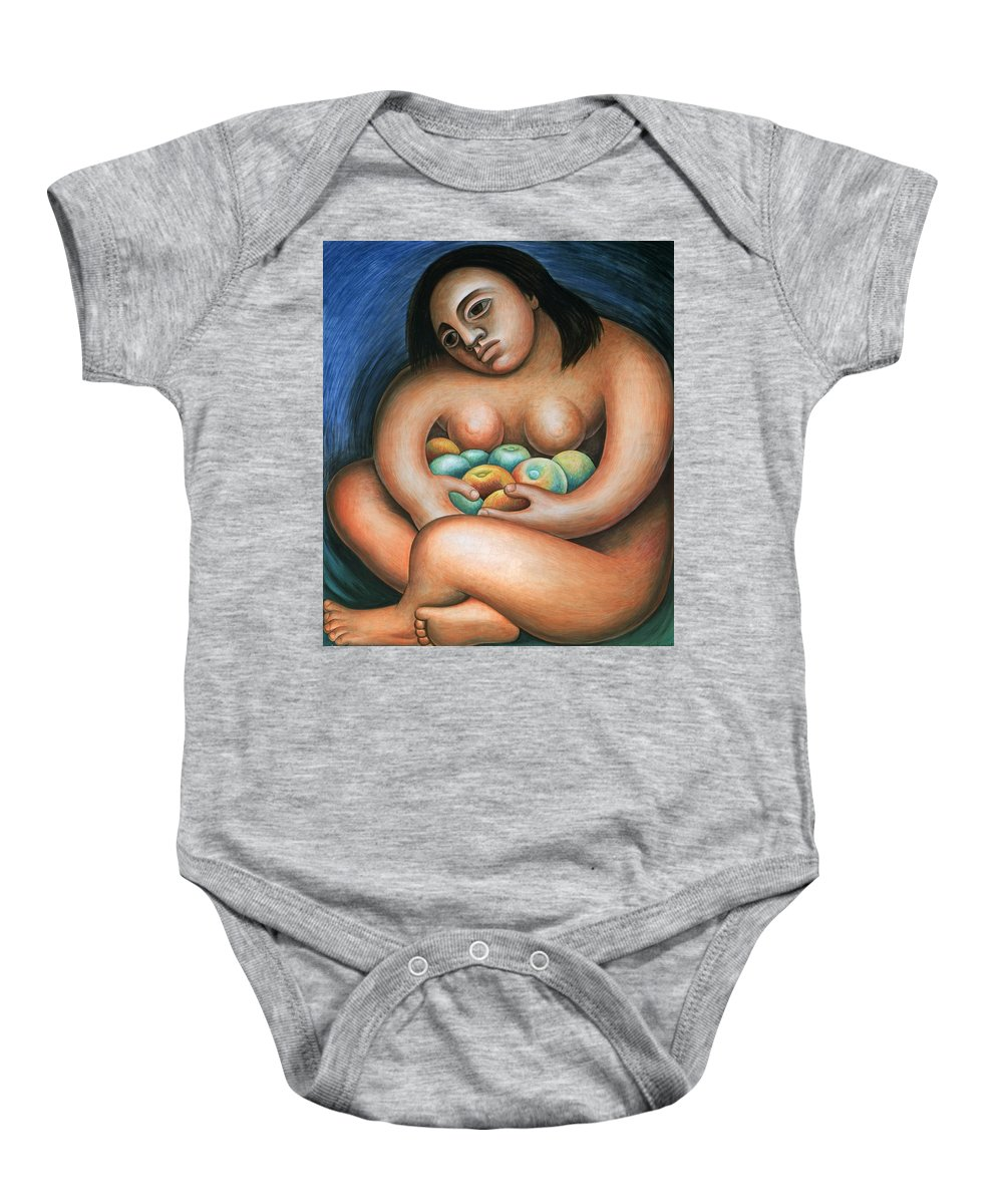 Diego Rivera Baby Onesie featuring the painting Detroit Industry  Detail From The East Wall by Diego Rivera