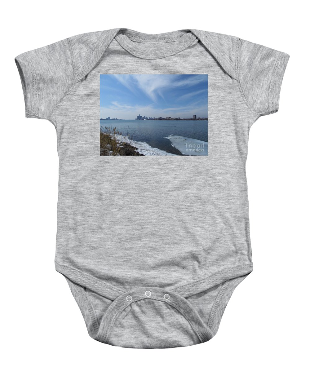 Detroit Baby Onesie featuring the photograph Detroit Skyline by Two Bridges North