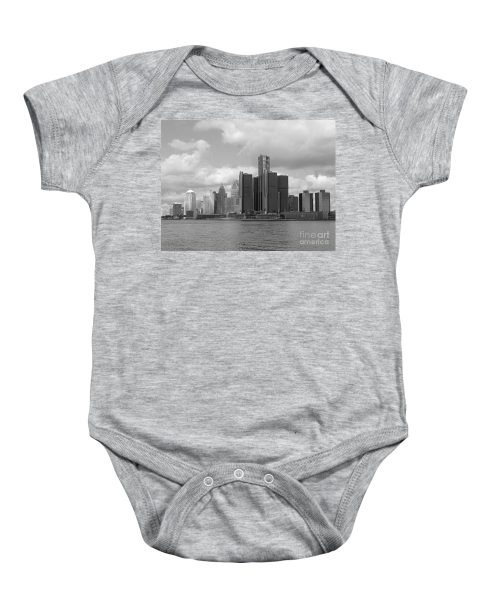 Detroit Baby Onesie featuring the photograph Detroit Skyscape by Ann Horn