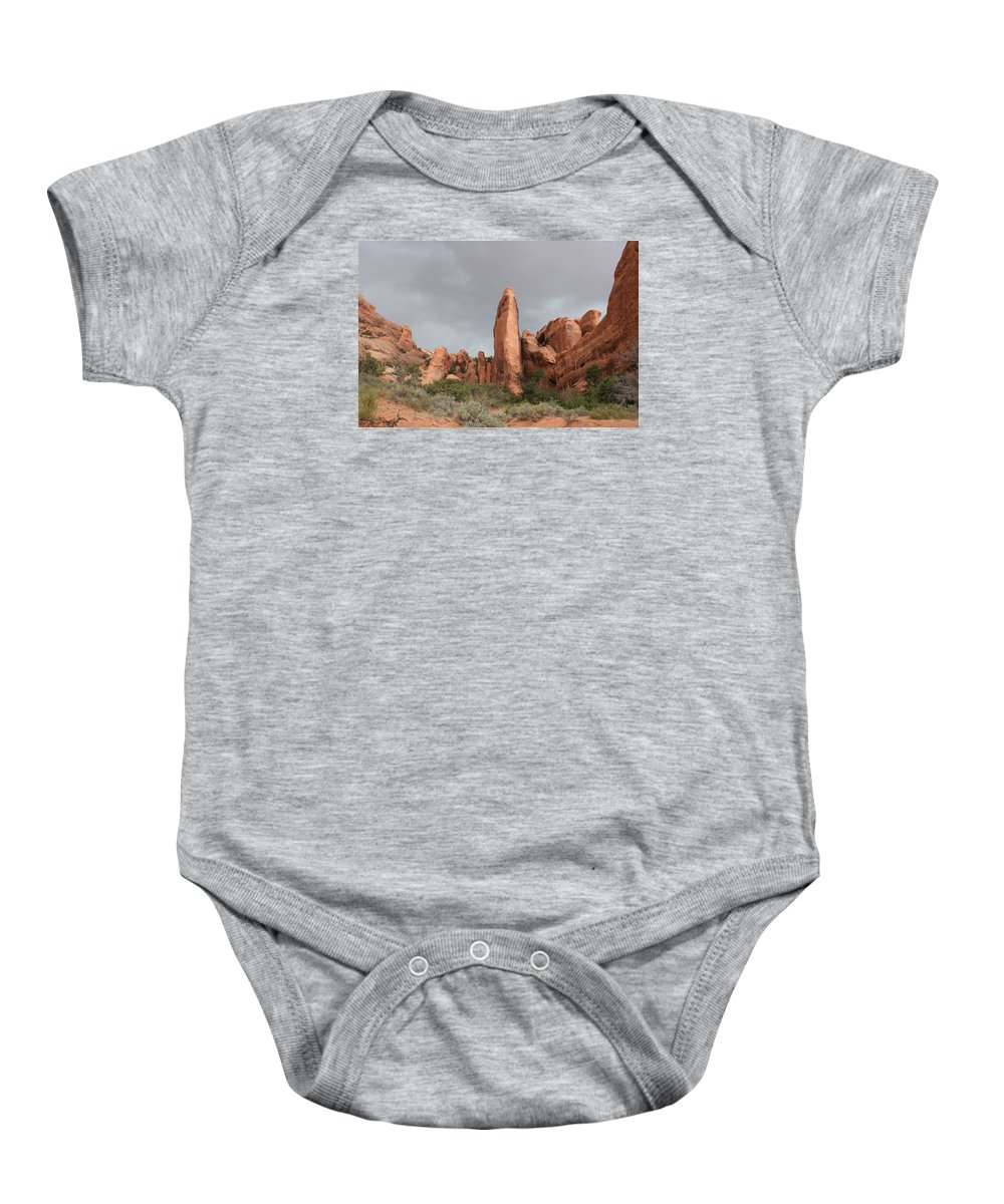 Rocks Baby Onesie featuring the photograph Devils Garden Arches Np by Christiane Schulze Art And Photography