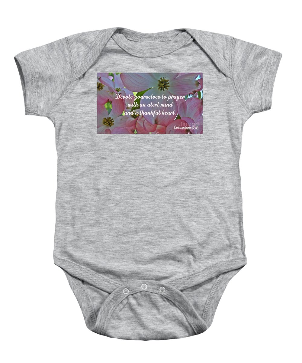 Dogwood Baby Onesie featuring the photograph Devote Yourselves by Sara Raber