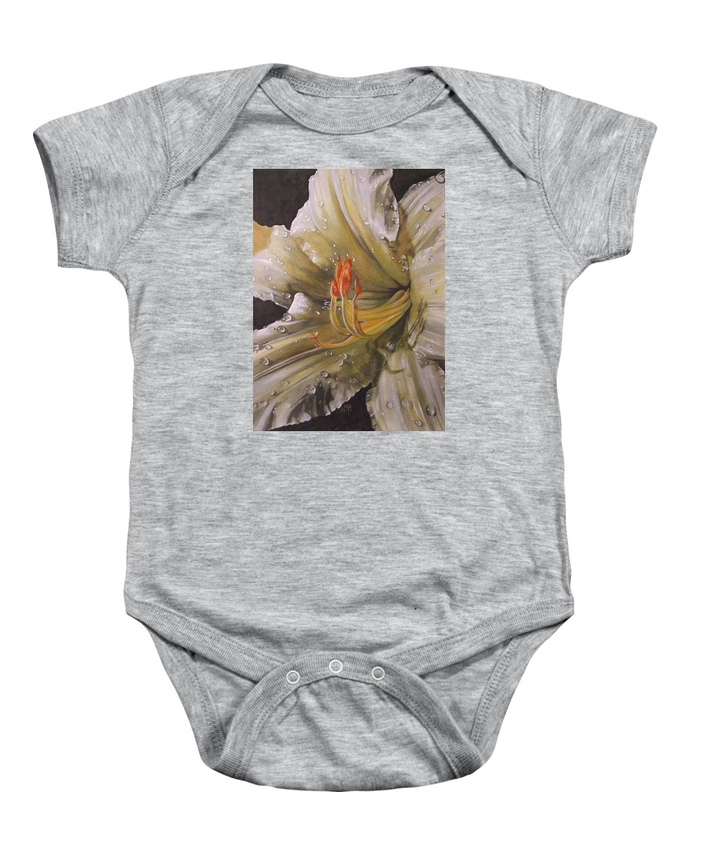 Daylily Baby Onesie featuring the painting Diamonds by Barbara Keith