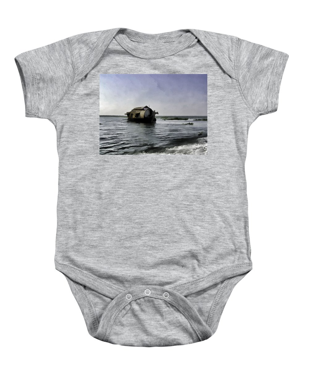 Backwater Baby Onesie featuring the digital art Digital Oil Painting - A Houseboat Moving Placidly Through A Coastal Lagoon by Ashish Agarwal