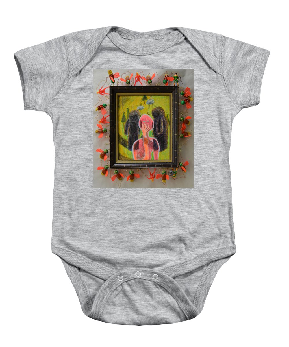 Abstract Modern Outsider Raw Figures People Red Green Stone Bugs Beads Folk Person Yellow Pink Brown Black White Shadow Person Shadows Baby Onesie featuring the painting Disappearance Of The Woman And Her Own Two Stone Children With Clouds On Wheels - Framed by Nancy Mauerman