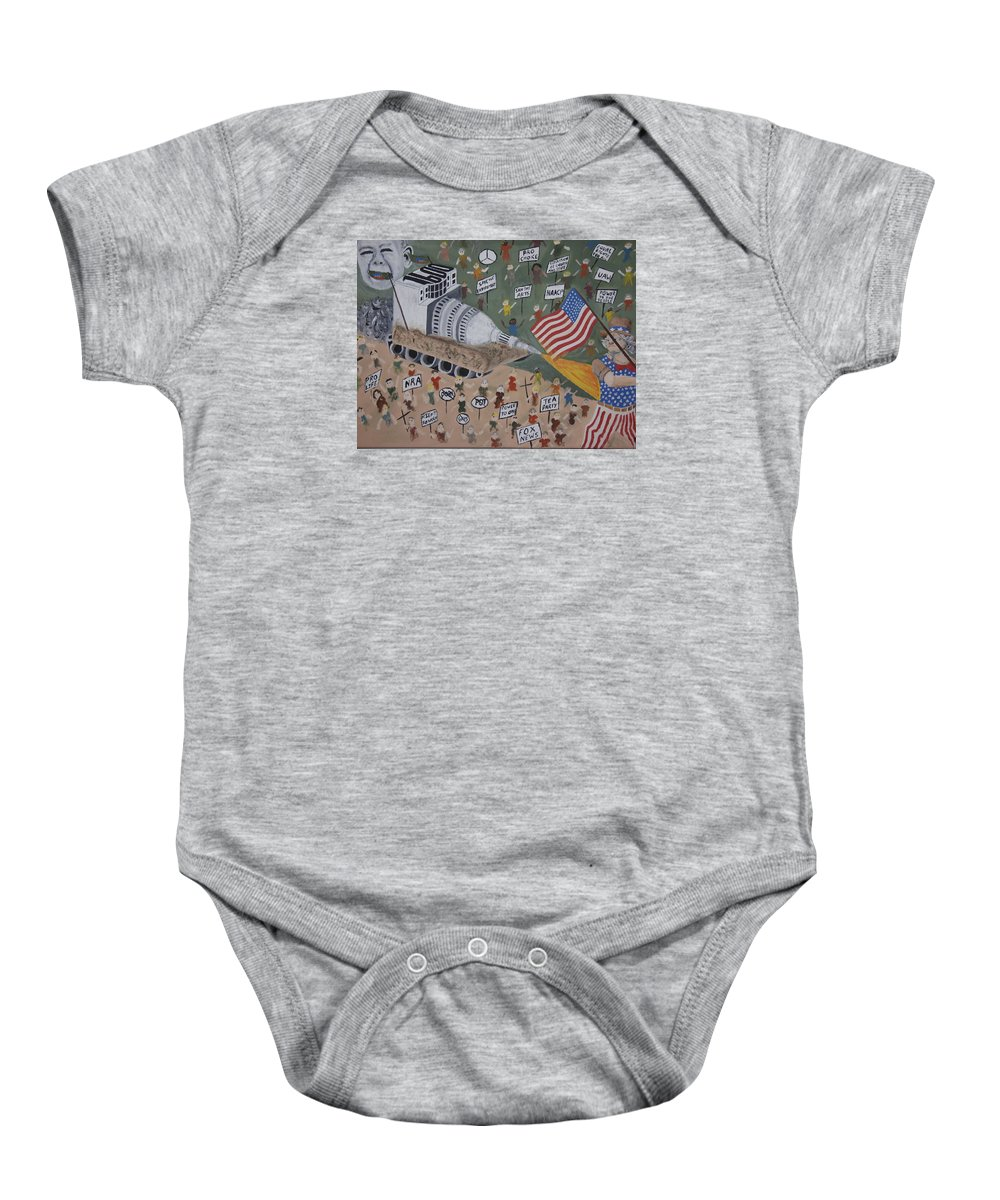 Political Satire Baby Onesie featuring the painting Divided We Stand by Dean Stephens