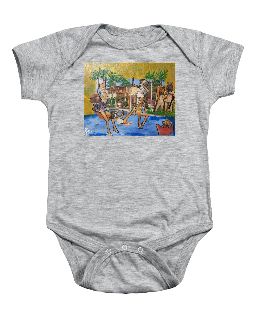Dogs Baby Onesie featuring the painting Dog Days Of Summer by Lisa Piper