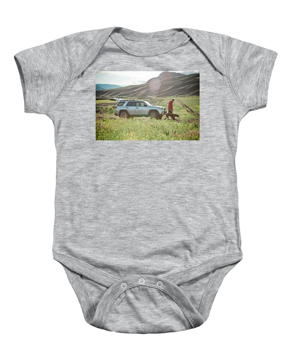 25-29 Years Baby Onesie featuring the photograph Dog Walking by Christopher Kimmel