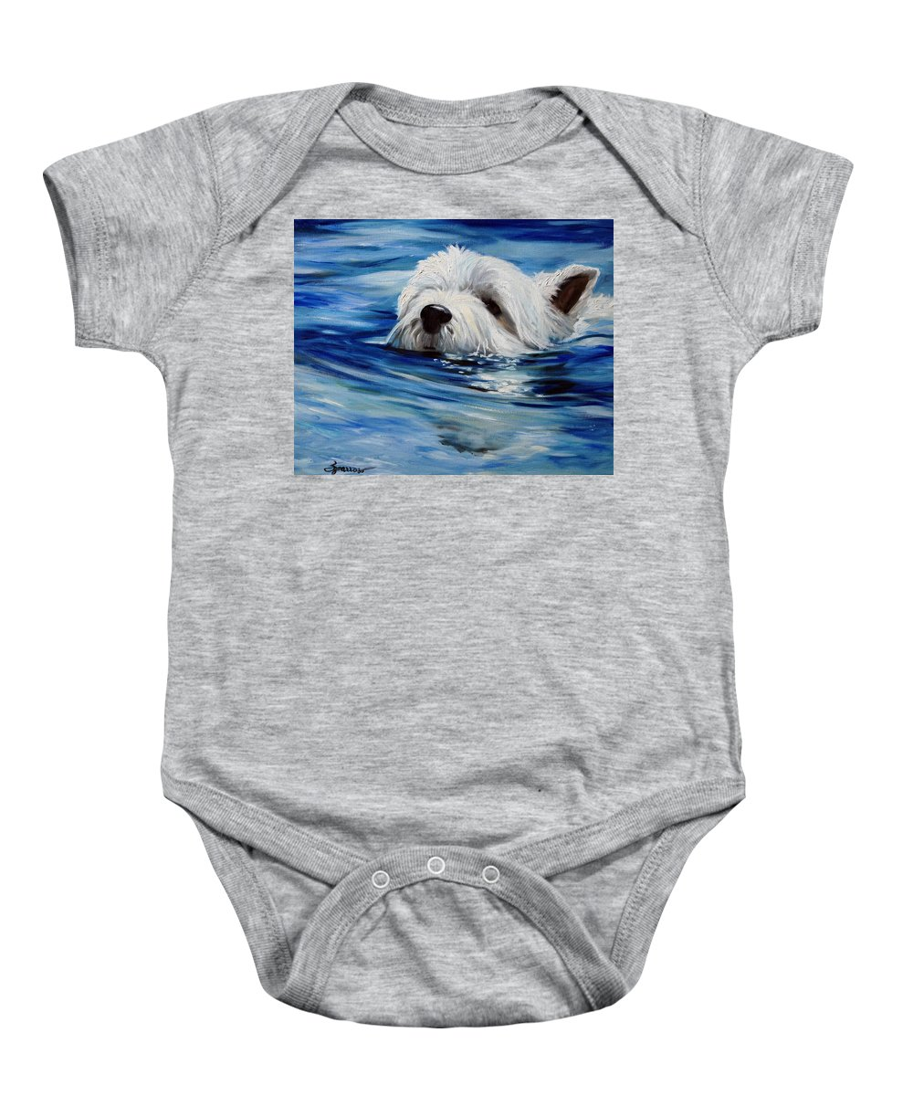 Westie Baby Onesie featuring the painting Doggie Paddle by Mary Sparrow