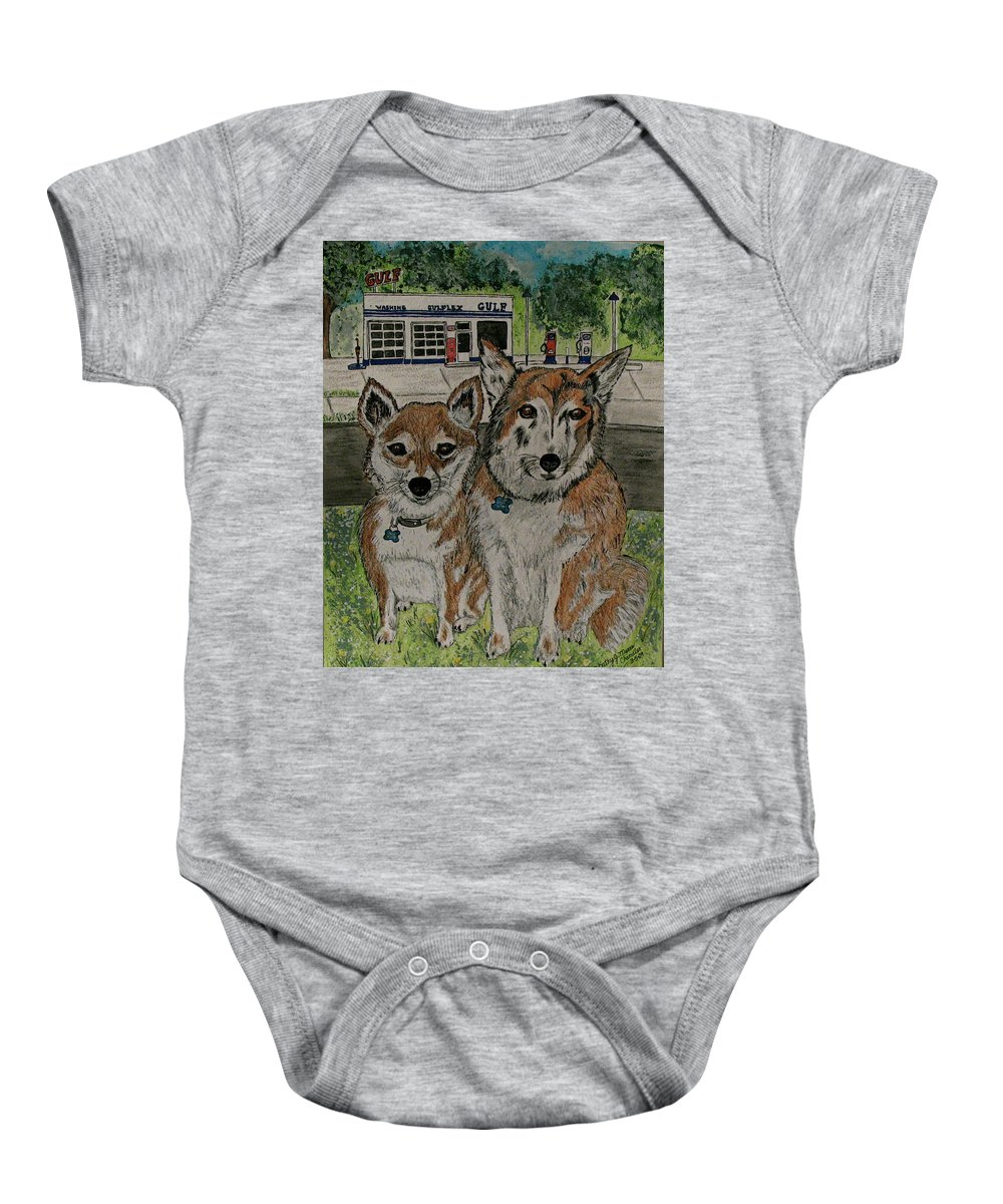 Dogs Baby Onesie featuring the painting Dogs In Front Of The Gulf Station by Kathy Marrs Chandler