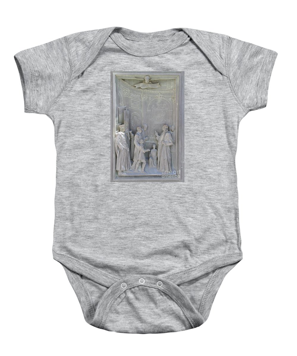 Relief Baby Onesie featuring the photograph Door Detail Cathedral Siena by Christiane Schulze Art And Photography