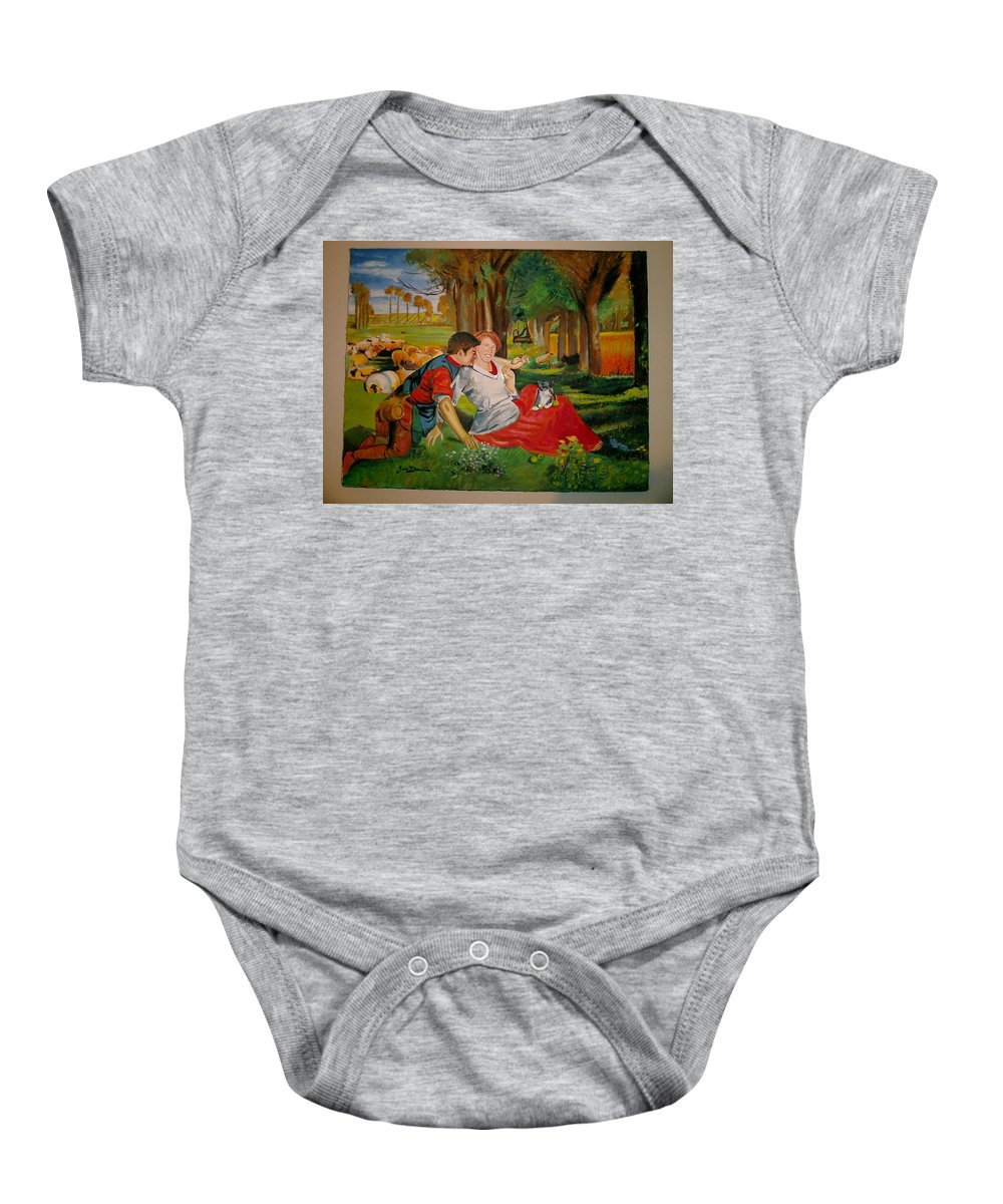 Baby Onesie featuring the painting double portrait of freinds Gunner and Jessie by Jude Darrien