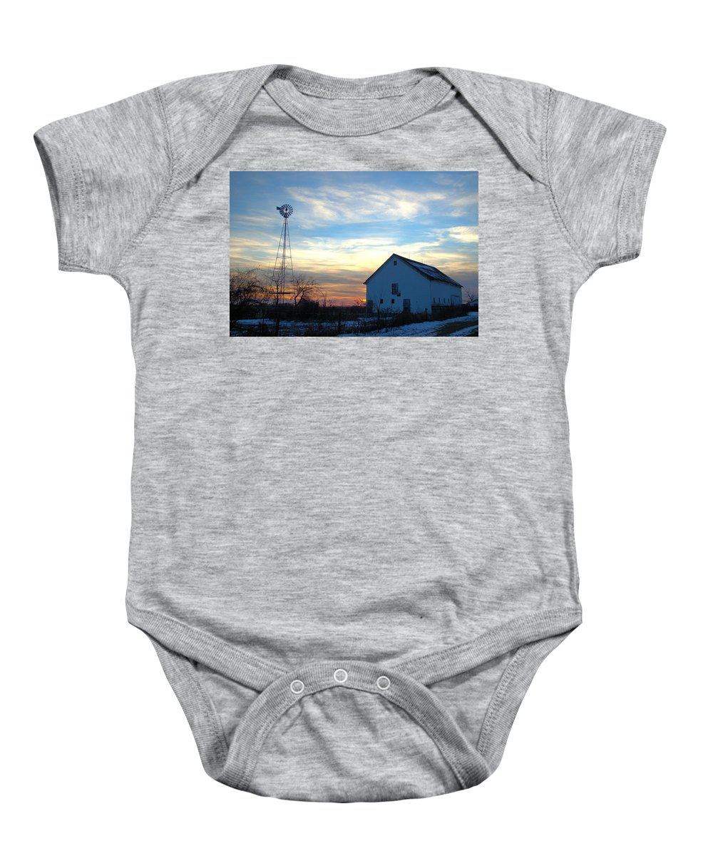Barn Baby Onesie featuring the photograph Dougherty Barn by Bonfire Photography