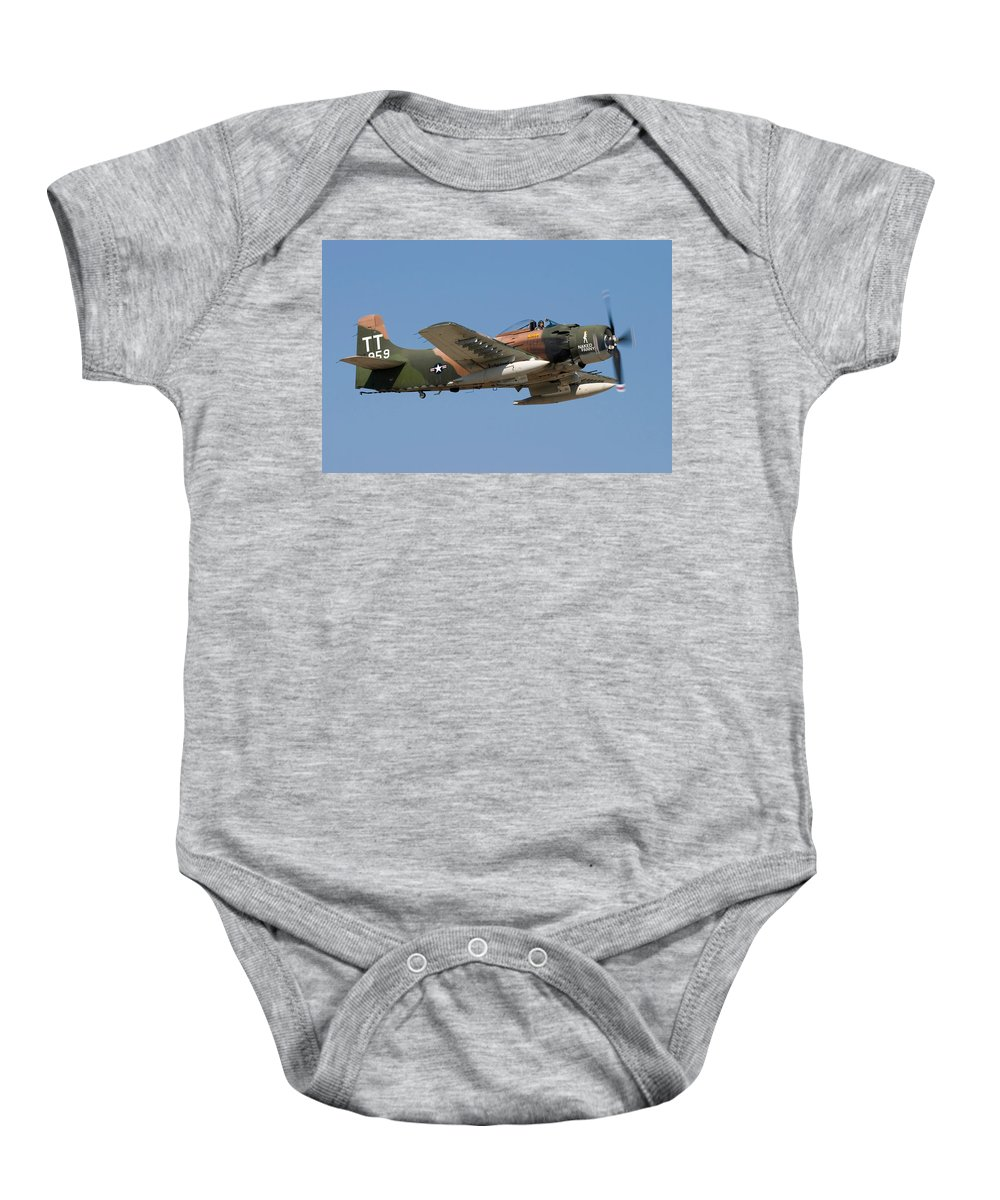 3scape Photos Baby Onesie featuring the photograph Douglas Ad-4 Skyraider by Adam Romanowicz