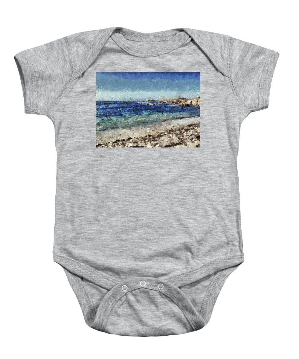 Sea Baby Onesie featuring the mixed media Down By The Sea 1 by Angelina Vick