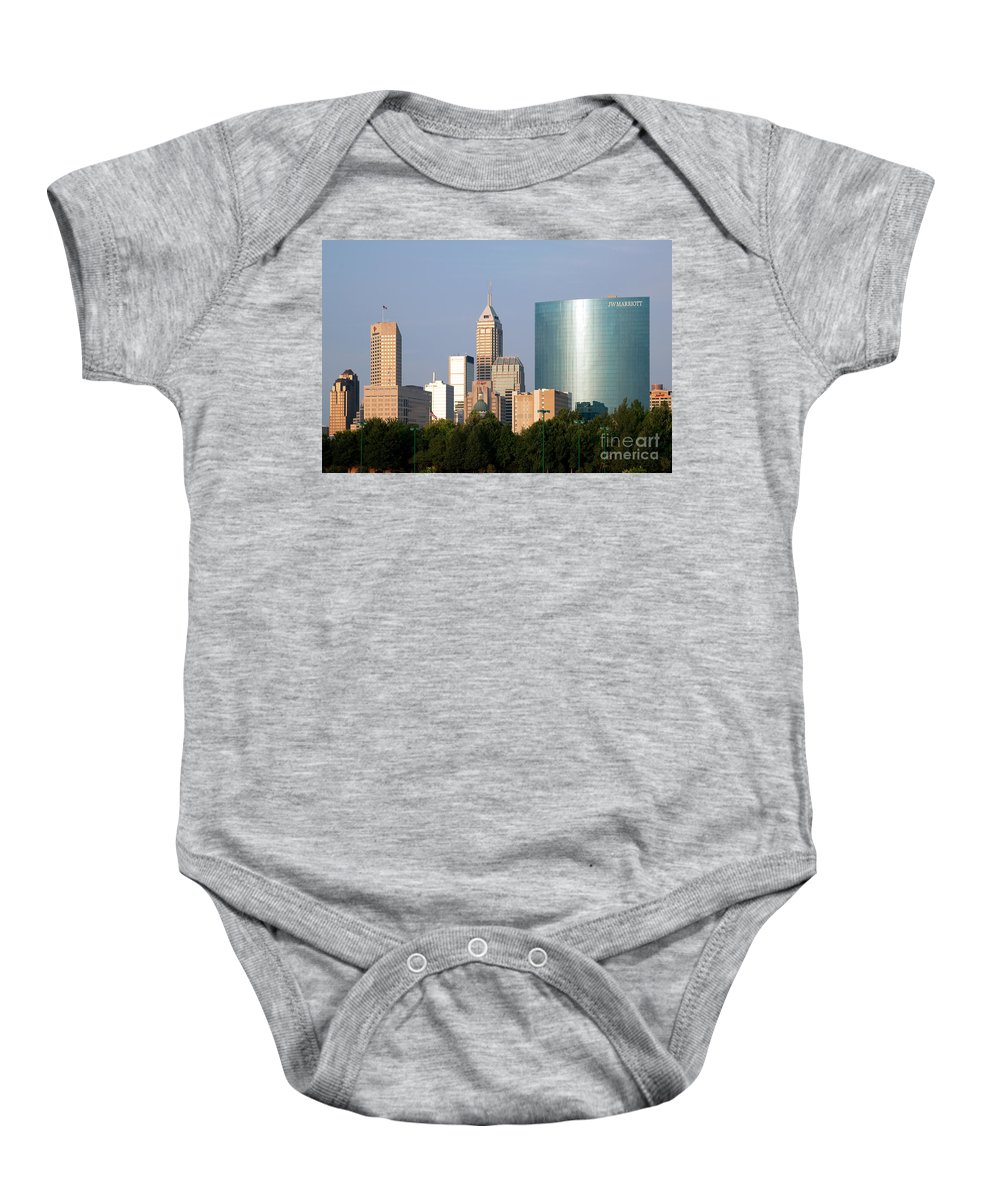 Capitol Building Baby Onesie featuring the photograph Downtown Indianapolis Indiana by Bill Cobb