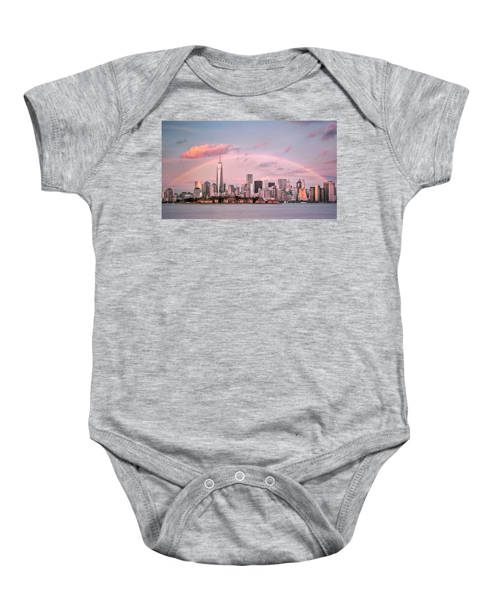 Atlantic Baby Onesie featuring the photograph Downtown Rainbow by Eduard Moldoveanu