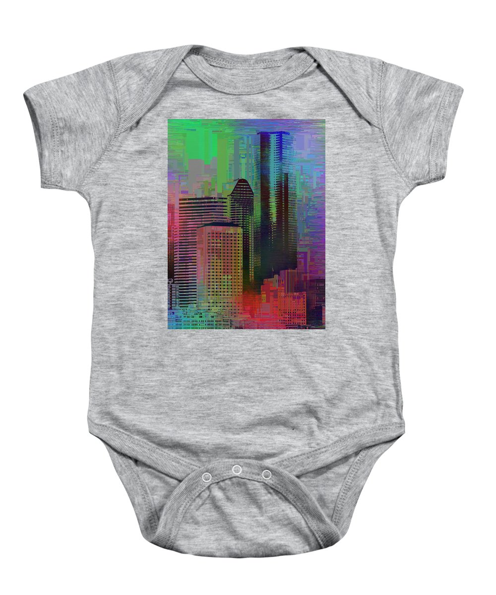 Abstract Baby Onesie featuring the digital art Downtown Seattle Cubed 3 by Tim Allen