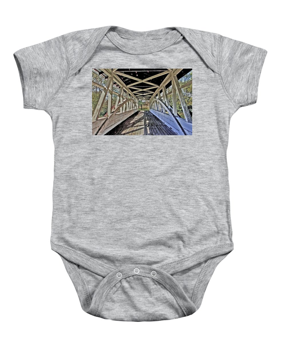 Bedford County Covered Bridges Baby Onesie featuring the photograph Dr. Knisely Covered Bridge by Suzanne Stout