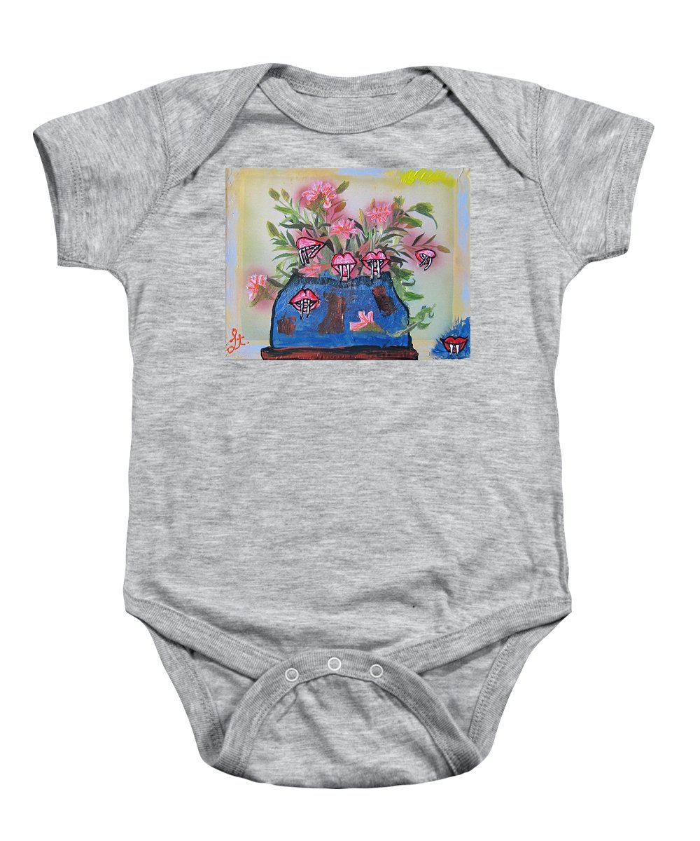 Flowers Baby Onesie featuring the painting Dracula Vampira Orchid by Lisa Piper