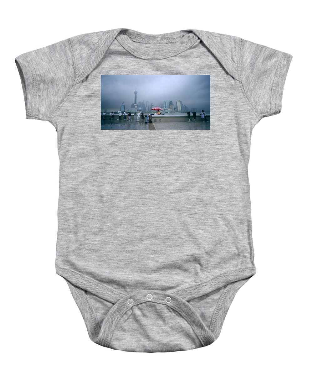 Shanghai Skyline Baby Onesie featuring the photograph Dramatic Shanghai by Shaun Higson