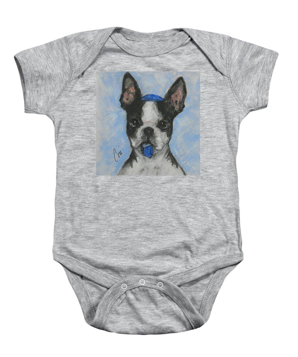 Boston Terrier Baby Onesie featuring the drawing Dreideler by Cori Solomon