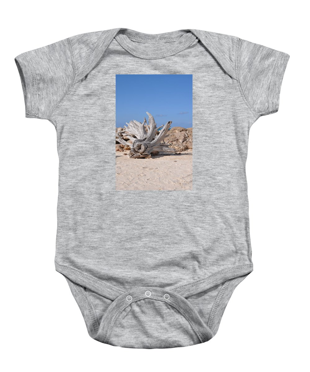 Driftwood Baby Onesie featuring the photograph Driftwood by Laura Lowrey