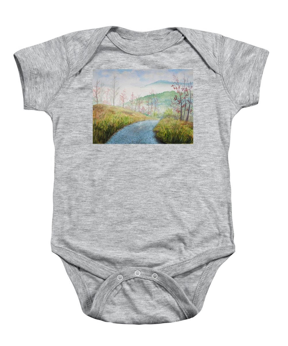 Mountains Baby Onesie featuring the painting Driving Down The Mountain by Sheena Kohlmeyer