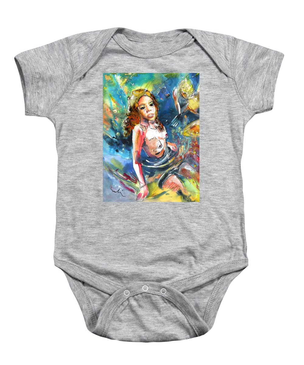 Women Baby Onesie featuring the painting Drowning In Love by Miki De Goodaboom