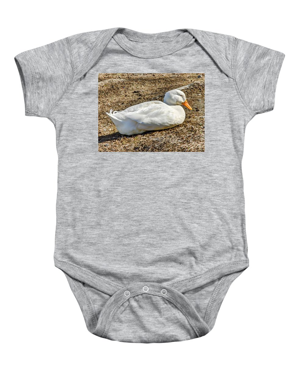 Hdr Baby Onesie featuring the photograph Duck Taking A Nap by John Straton
