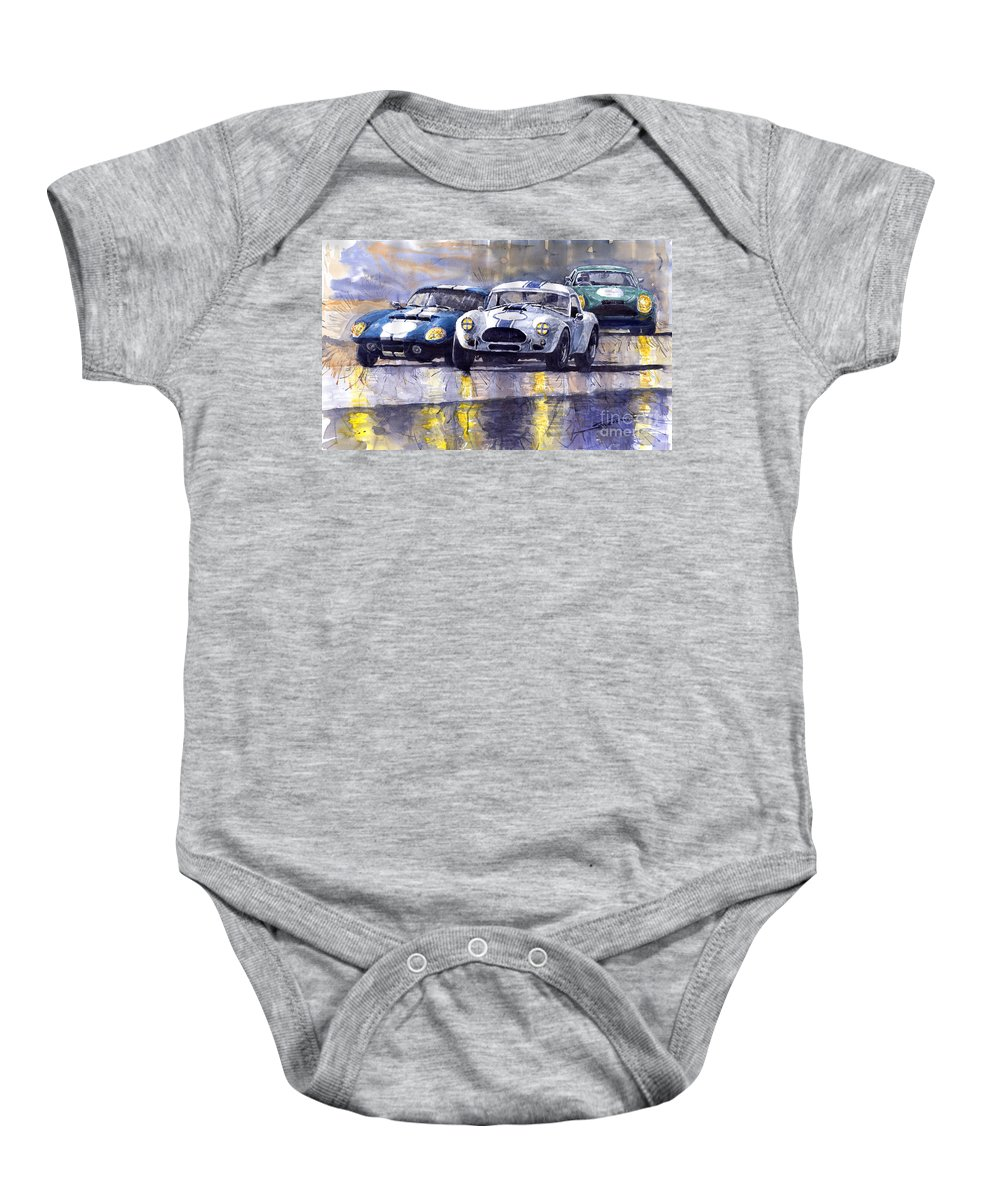 Ac Cobra Baby Onesie featuring the painting Duel Ac Cobra And Shelby Daytona Coupe 1965 by Yuriy Shevchuk
