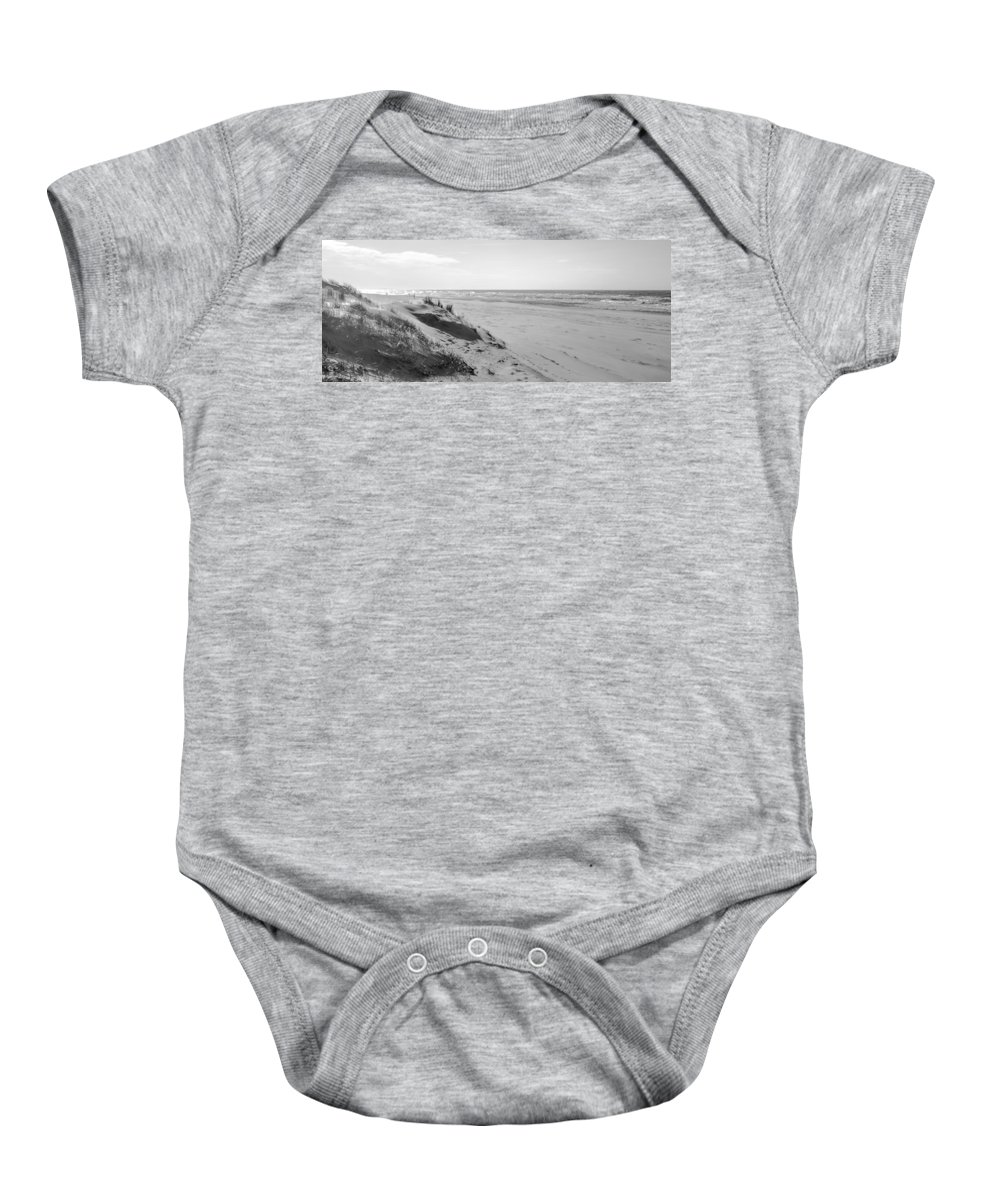 Sea Baby Onesie featuring the photograph Dutch Coast Black And White by Alex Hiemstra