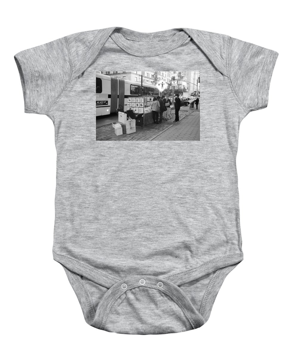 Scenic Baby Onesie featuring the photograph E85th. In Black And White by Rob Hans