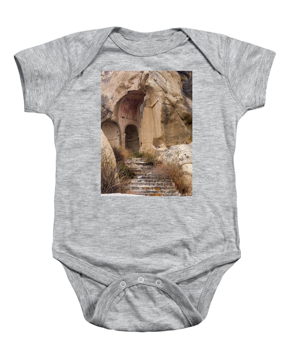 Göreme Open Air Museum Baby Onesie featuring the photograph Early Christian Monastery by Bob Phillips