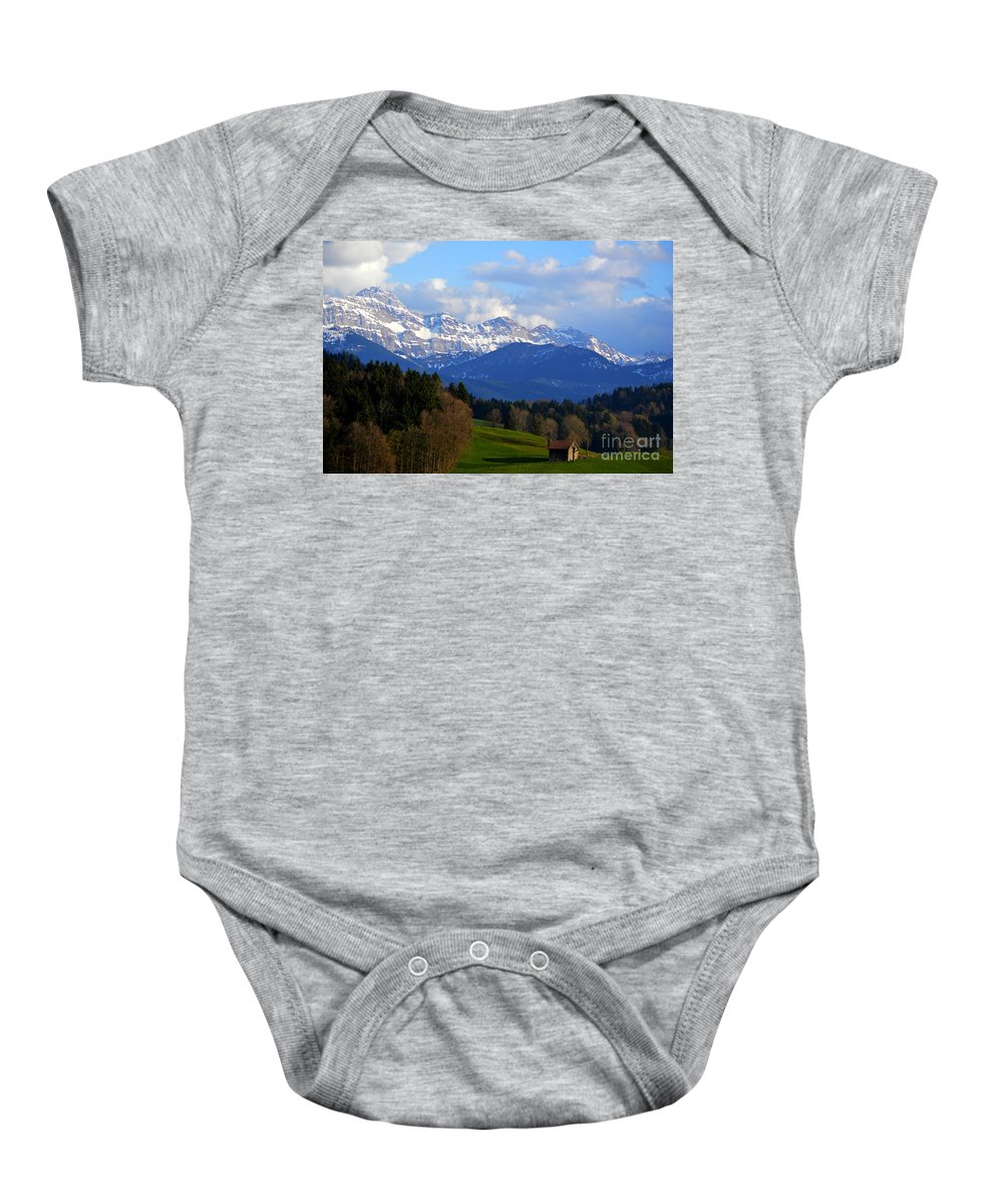 Switzerland Baby Onesie featuring the photograph Early Snow In The Swiss Mountains by Susanne Van Hulst