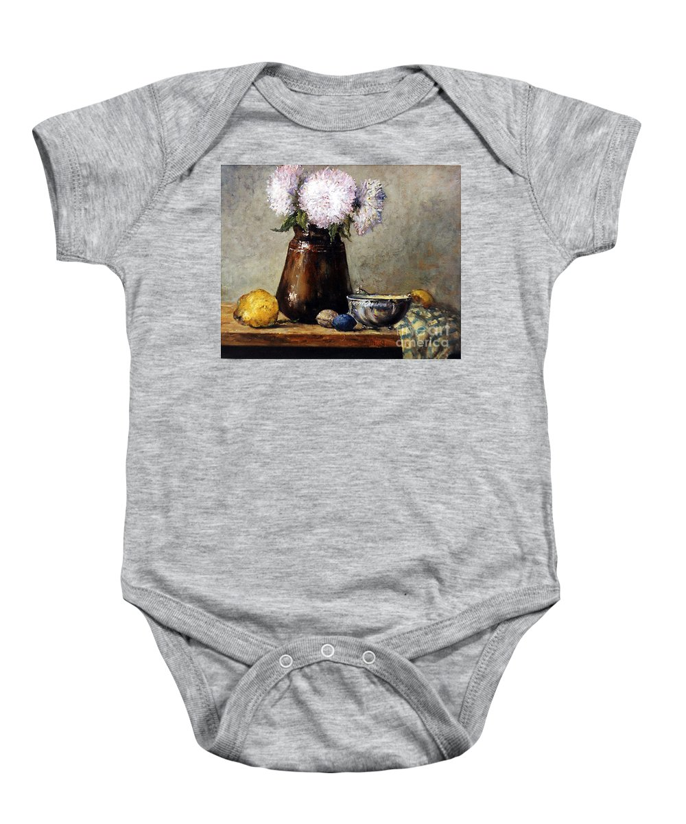 Still Life Baby Onesie featuring the painting Earthen Pot With Chrysanthemums by Grigor Malinov