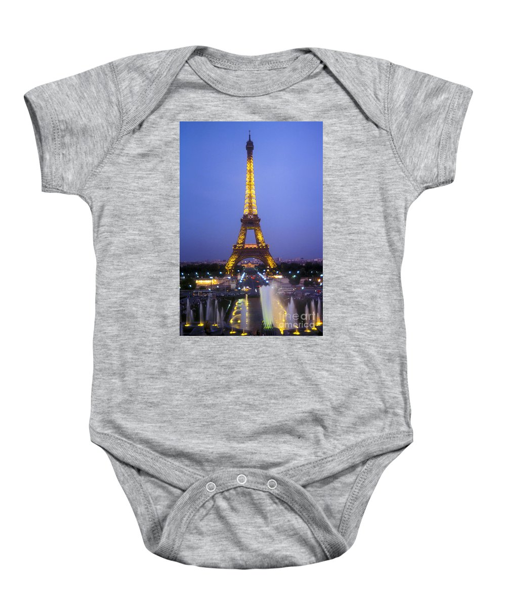 Paris France Eiffel Tower Towers Trocadero's Fountains Fountain Water Pool Pools City Cities Cityscape Cityscapes Landmark Landmarks Structure Structures Architecture Baby Onesie featuring the photograph Eiffel Tower At Dusk by Bob Phillips