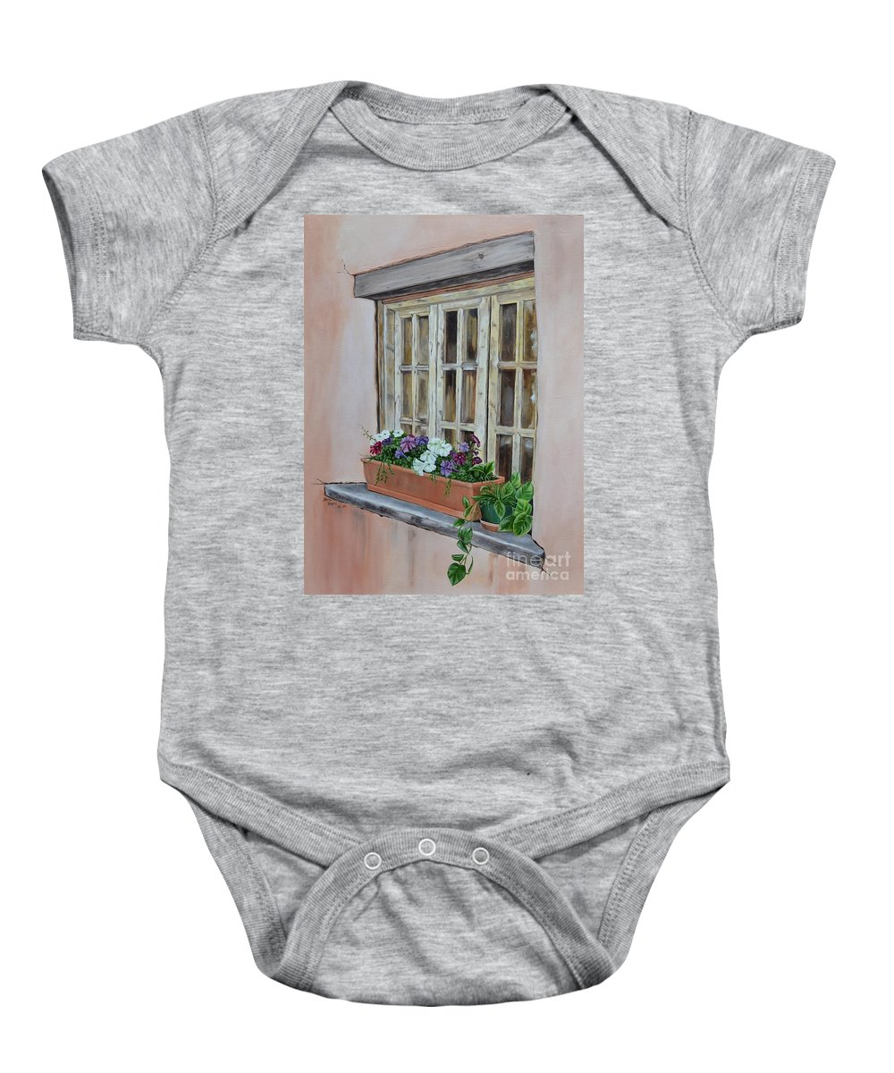 Adobe Baby Onesie featuring the painting Elayne Look Through The Window by Mary Rogers