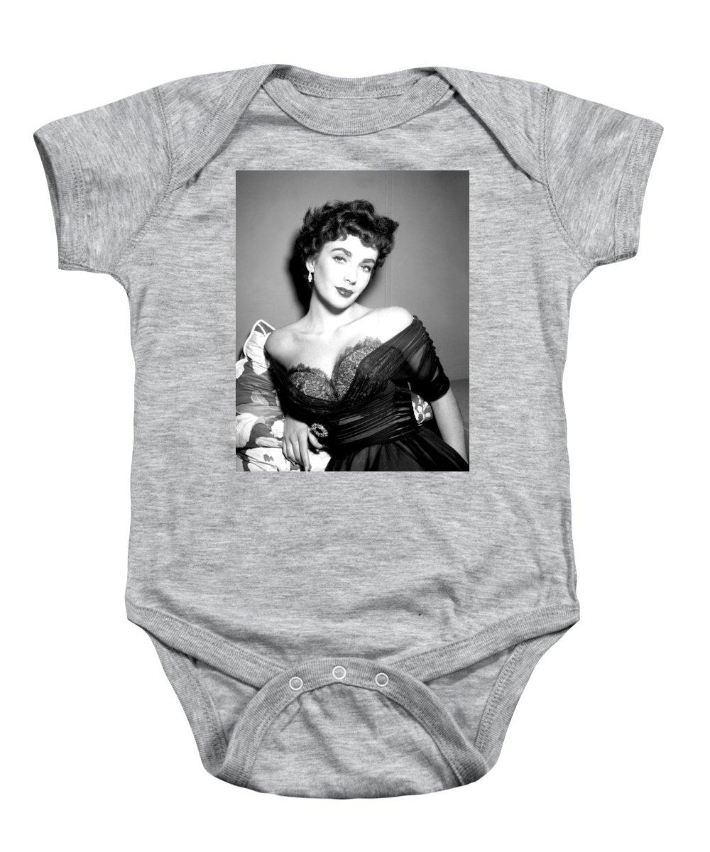 Elizabeth Taylor Baby Onesie featuring the digital art Elizabeth Taylor by Studio Release