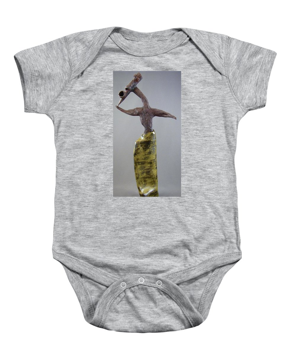 Figures Baby Onesie featuring the sculpture Emerge And Run by Mario MJ Perron