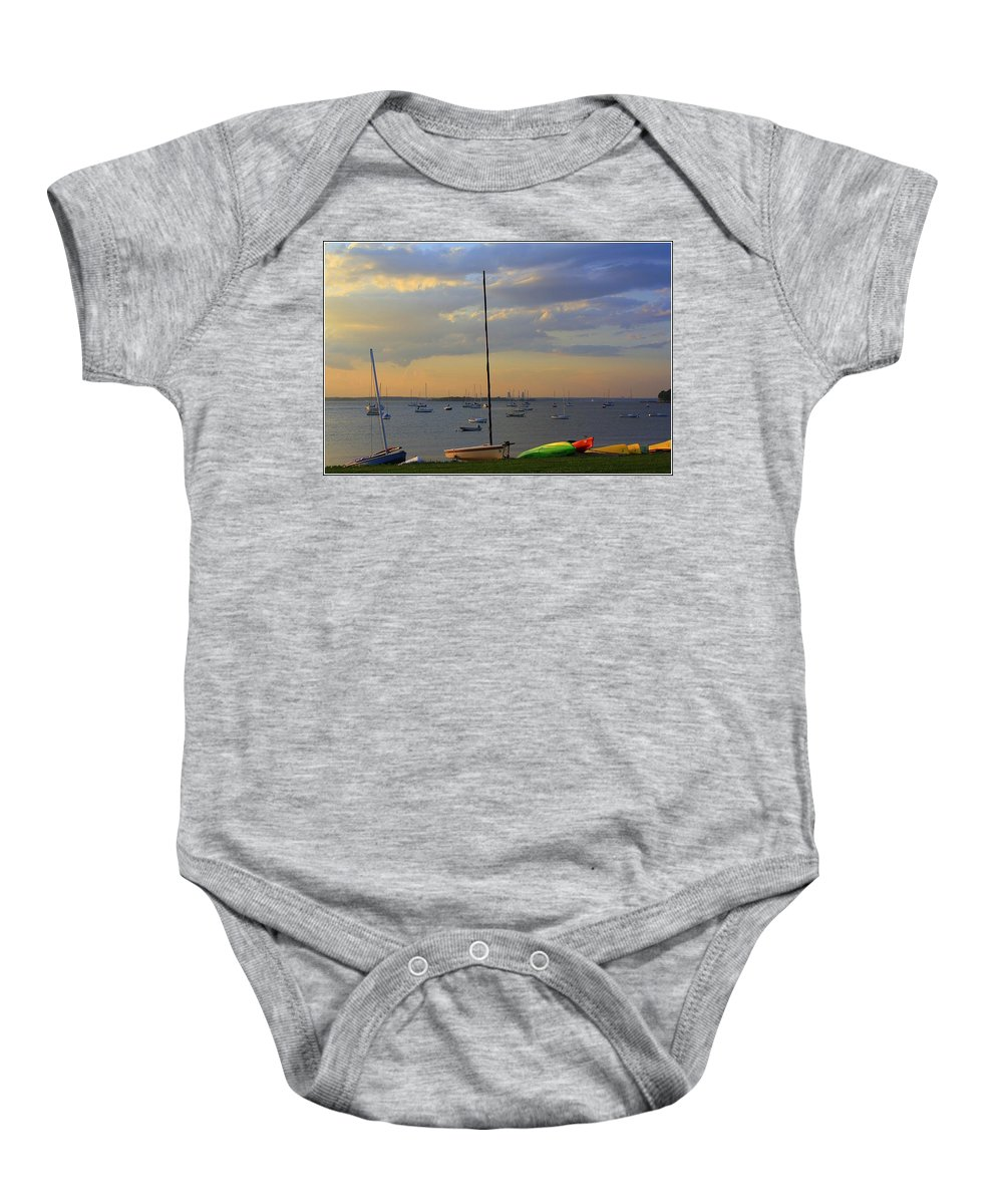 Sunsets Baby Onesie featuring the photograph End Of Day At The Bay by Dora Sofia Caputo Photographic Design and Fine Art