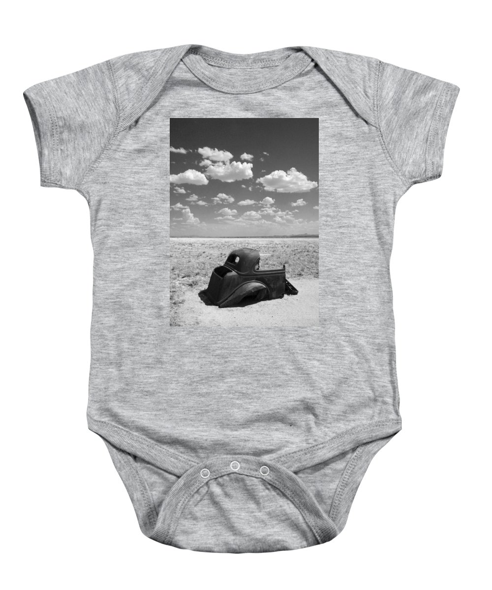 Car Baby Onesie featuring the photograph End Of The Road by Joe Kozlowski