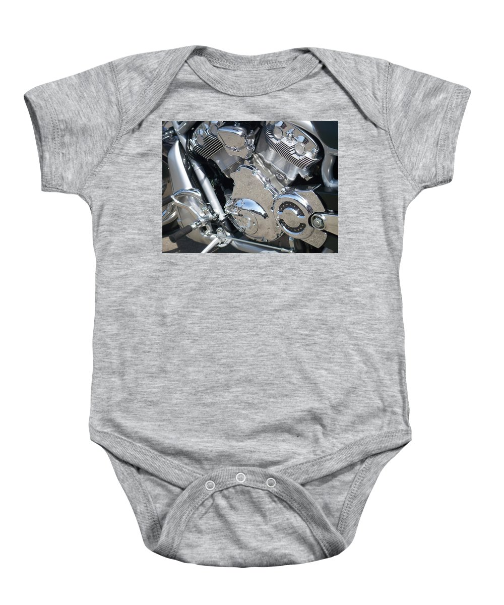 Motorcycles Baby Onesie featuring the photograph Engine Close-up 3 by Anita Burgermeister