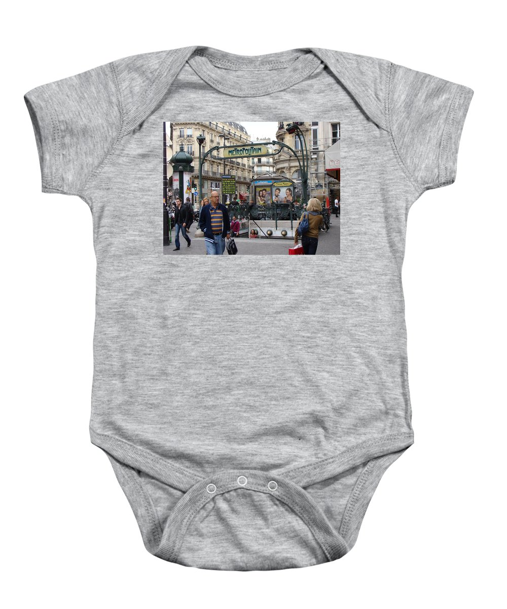 Paris Baby Onesie featuring the photograph Entrance To The Paris Metro by Ira Shander