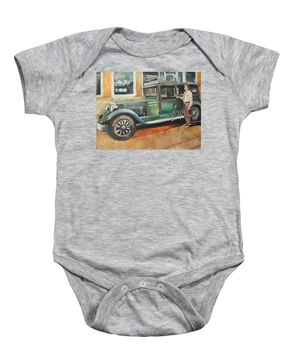 Bus Baby Onesie featuring the painting Ernests First Bus by Tim Nyberg