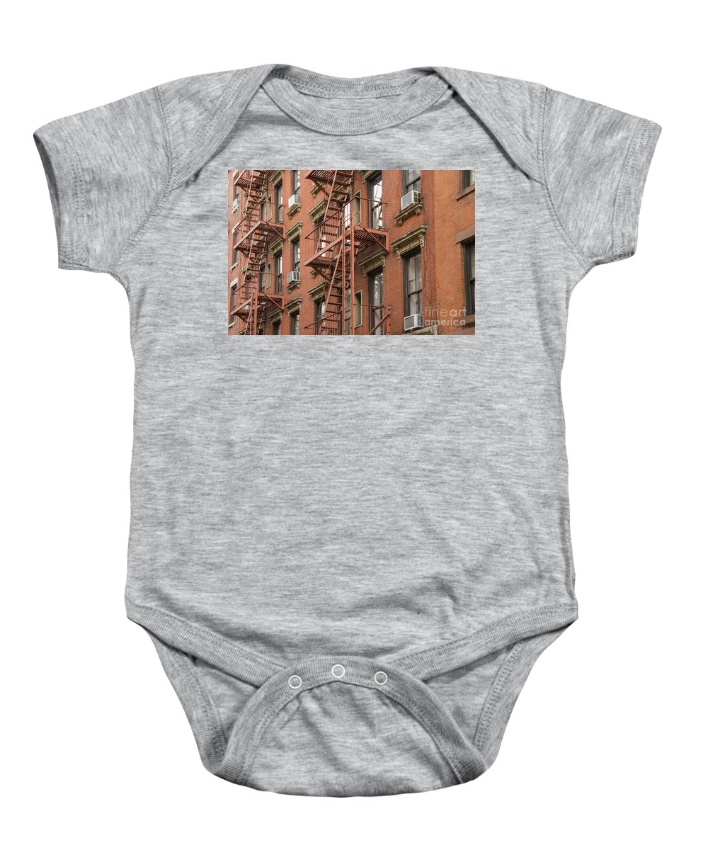 Fire Escapes Building Buildings Structure Structures Architecture Window Windows Door Doors New York City Cities Cityscape Cityscapes Brick Bricks Baby Onesie featuring the photograph Escape Route by Bob Phillips