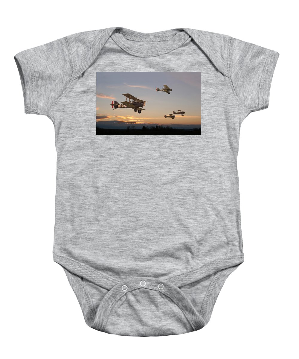 Aircraft Baby Onesie featuring the digital art Evening Flight by Pat Speirs
