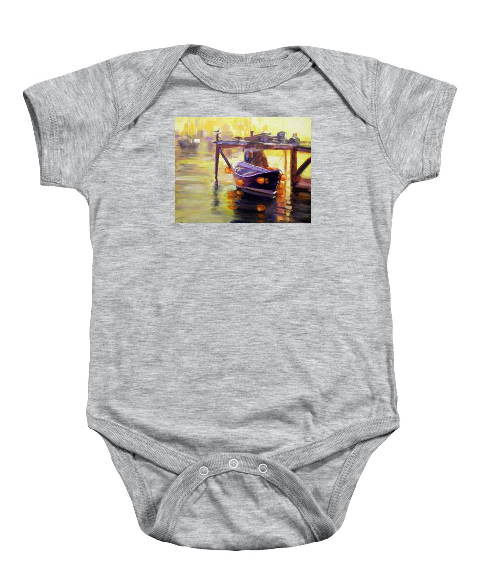 Boat Baby Onesie featuring the painting Evening Gold by Elena Sokolova