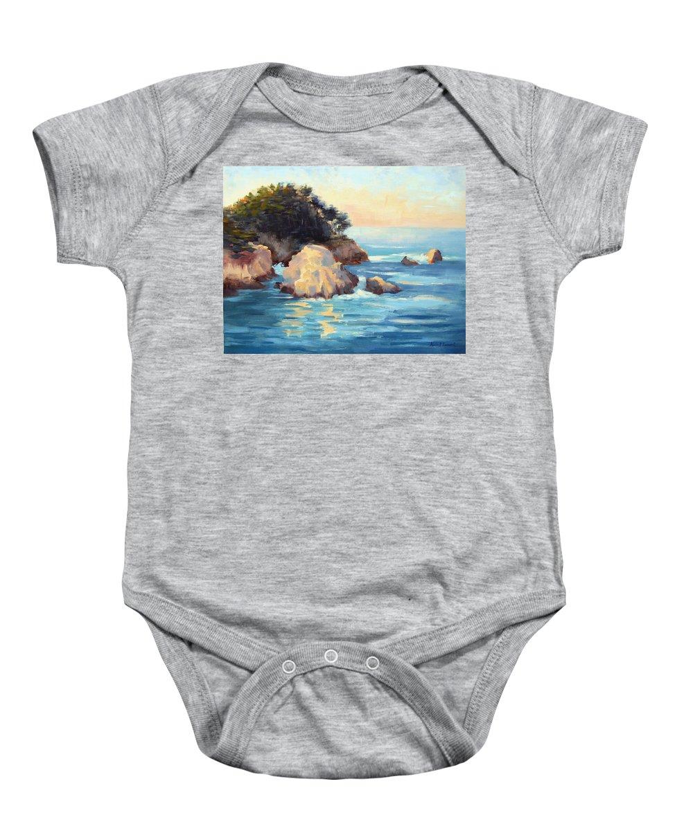 Big Sur Coast Baby Onesie featuring the painting Evening Light Point Lobos by Karin Leonard